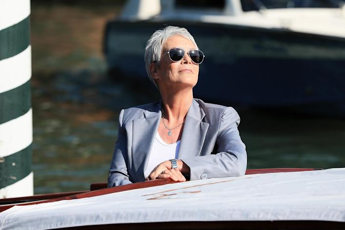 <p>Jamie Lee Curtis makes an entrance at the 78th Venice International Film Festival on Sept. 8 in Italy.</p>