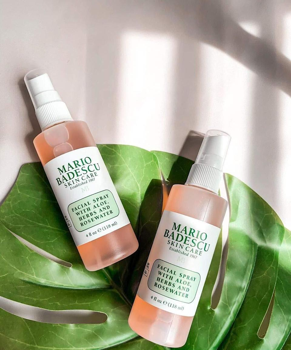 """Keep this soothing facial spray on hand and use it whenever your skin needs a hydrating pick-me-up.<br /><br /><strong>Promising review:</strong>""""I will admit that I am not the best when it comes to knowing what skincare products to buy (and that the only reason I chose this one was because I heard that the Kardashians use it), but I swear by this stuff.<strong>I even find my boyfriend stealing it from me. It gives your face the perfect day look while setting your makeup. I always feel so much more refreshed with just a spray or two of this.</strong>I keep a travel-size version in my purse for mid-day work spritz ups."""" —<a href=""""https://amzn.to/32LSuPX"""" target=""""_blank"""" rel=""""nofollow noopener noreferrer"""" data-skimlinks-tracking=""""5909265"""" data-vars-affiliate=""""Amazon"""" data-vars-href=""""https://www.amazon.com/gp/customer-reviews/R2PJPGJA9EMHU0?tag=bfmelanie-20&ascsubtag=5909265%2C30%2C36%2Cmobile_web%2C0%2C0%2C16567457"""" data-vars-keywords=""""cleaning"""" data-vars-link-id=""""16567457"""" data-vars-price="""""""" data-vars-product-id=""""15937145"""" data-vars-retailers=""""Amazon"""">Jennifer</a><br /><br /><strong>Get it from Amazon for<a href=""""https://amzn.to/3dHQtuA"""" target=""""_blank"""" rel=""""nofollow noopener noreferrer"""" data-skimlinks-tracking=""""5909265"""" data-vars-affiliate=""""Amazon"""" data-vars-asin=""""B002LC9OES"""" data-vars-href=""""https://www.amazon.com/dp/B002LC9OES?tag=bfmelanie-20&ascsubtag=5909265%2C30%2C36%2Cmobile_web%2C0%2C0%2C16567491"""" data-vars-keywords=""""cleaning"""" data-vars-link-id=""""16567491"""" data-vars-price="""""""" data-vars-product-id=""""16283469"""" data-vars-product-img=""""https://m.media-amazon.com/images/I/31WdAeiccEL._SL500_.jpg"""" data-vars-product-title=""""Mario Badescu Facial Spray with Aloe, Herbs and Rosewater, 4 Fl Oz"""" data-vars-retailers=""""Amazon"""">$7+</a>(available in a variety of size packs).</strong>"""