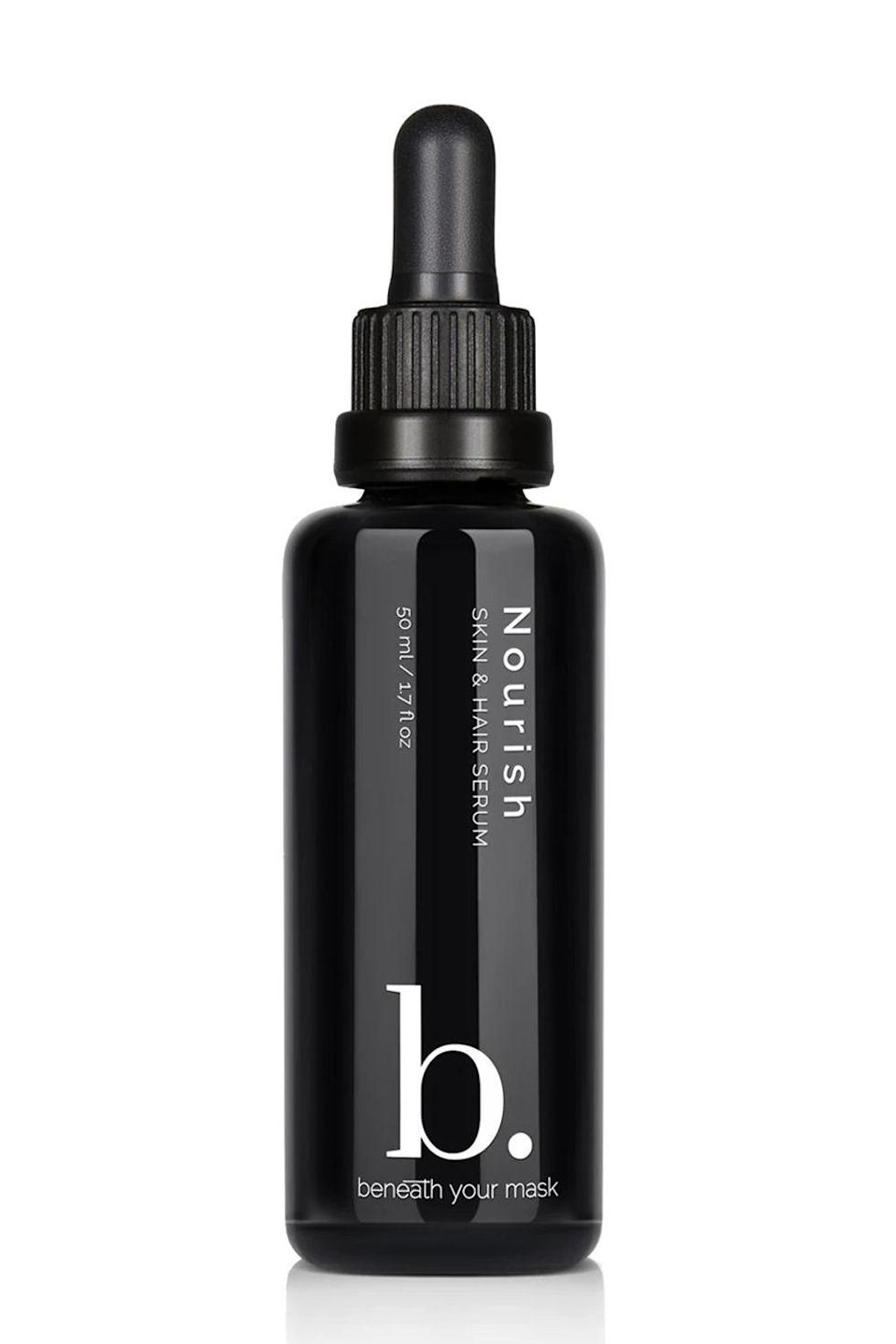 """<p><strong>Beneath Your Mask</strong></p><p>credobeauty.com</p><p><strong>$60.00</strong></p><p><a href=""""https://go.redirectingat.com?id=74968X1596630&url=https%3A%2F%2Fcredobeauty.com%2Fproducts%2Fnourish-skin-hair-serum&sref=https%3A%2F%2Fwww.cosmopolitan.com%2Fstyle-beauty%2Fbeauty%2Fg33995669%2Fbest-body-serums%2F"""" rel=""""nofollow noopener"""" target=""""_blank"""" data-ylk=""""slk:Shop Now"""" class=""""link rapid-noclick-resp"""">Shop Now</a></p><p>This body serum can be used on your skin <em>and</em> on your hair, making it the perfect two-in-one option. It's full of pure plant oils, vitamins B, C, and E, and fatty acids to<strong> nourish and moisturize dry skin and damaged hair.</strong> Just massage a few drops into damp skin or mix a little bit with your favorite <a href=""""https://www.cosmopolitan.com/style-beauty/beauty/g25606392/best-leave-in-hair-conditioner/"""" rel=""""nofollow noopener"""" target=""""_blank"""" data-ylk=""""slk:leave-in conditioner"""" class=""""link rapid-noclick-resp"""">leave-in conditioner</a> before styling.</p>"""