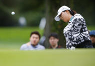 Jin Young Ko, of Korea, hits from the rough at the second hole during the final round of the Cognizant Founders Cup, Sunday, Oct.10, 2021, in West Caldwell, N.J. (AP Photo/Noah K. Murray)