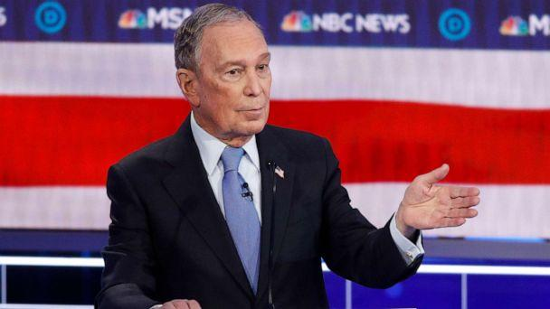 PHOTO: Democratic presidential candidate, former New York City Mayor Mike Bloomberg speaks during a Democratic presidential primary debate, Feb. 19, 2020, in Las Vegas. (John Locher/AP)