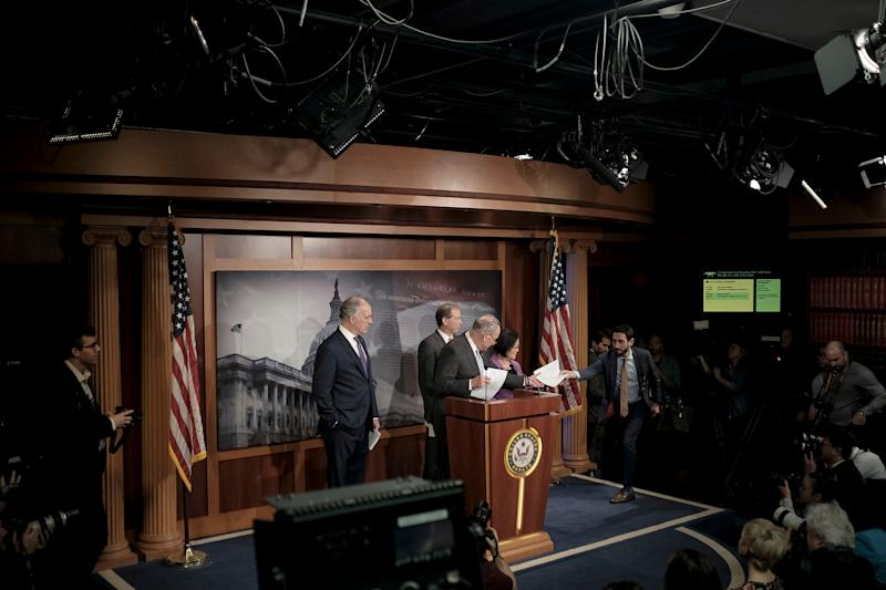 Senate Minority Leader Chuck Schumer (D-N.Y.) along with other senate democratic leaders speak to reporters at a press conference before the senate impeachment trial at the Capitol in Washington, D.C. on Jan. 23, 2020. | Gabriella Demczuk for TIME