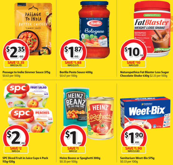 Cooking sauces, weight loss shake, diced fruit, baked beans and Weet-Bix on sale for half-price at Coles.