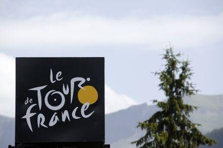 Cycling - Tour de France cycling race - The 17 km (10.5 miles) Stage 18 from Sallanches to Megeve, France - 21/07/2016 - The Tour de France logo is seen near the finish line during a mountain stage.      REUTERS/Jean-Paul Pelissier