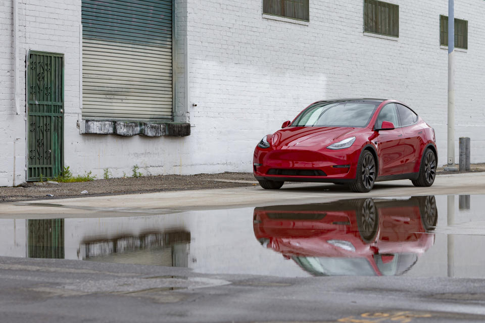 This photo provided by Edmunds shows the Tesla Model Y Performance, an all-electric crossover with impressive range and stunning acceleration that brings an exciting new flavor to the SUV segment. (Scott Jacobs/Edmunds via AP)