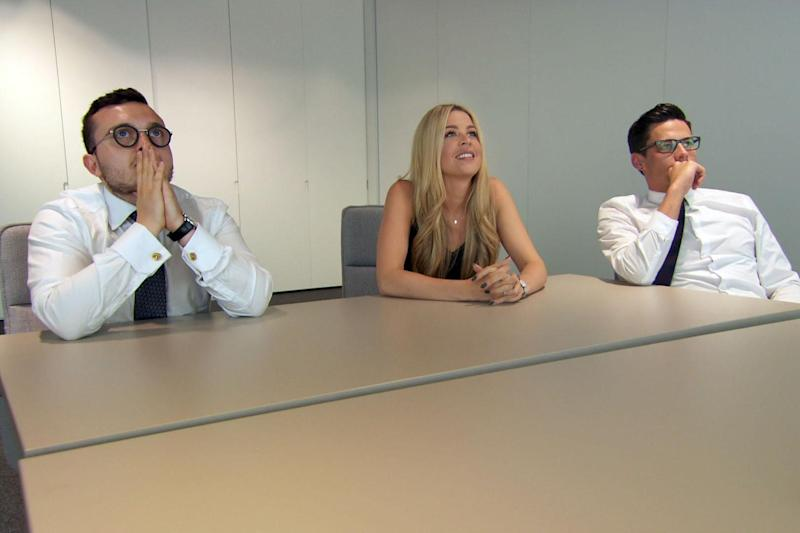 Tough task: The Apprentice candidates grapple with dog-walking and grooming: BBC/Freemantle Media