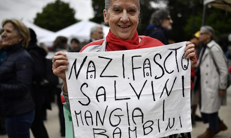 A protester in Milan.