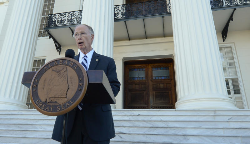Alabama Gov. Robert Bentley speaks during a news conference on Friday, April 7, 2017, outside the Alabama Capitol building in Montgomery, Ala. Bentley vowed again he won't resign even as his political troubles mounted and lawmakers said they would move forward with impeachment hearings because of a sex scandal. (Julie Bennett/AL.com via AP)