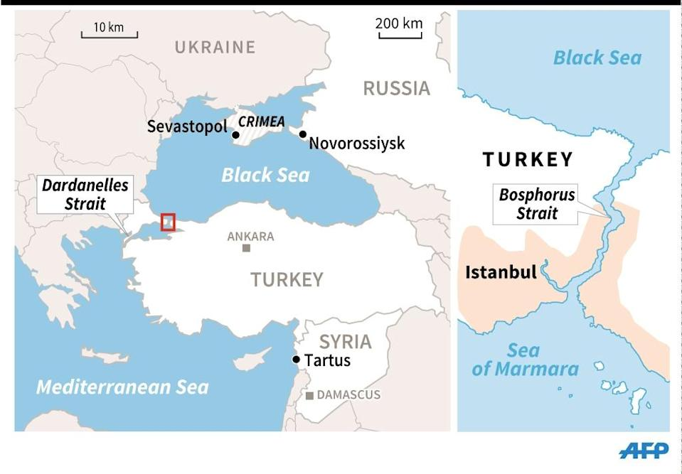Map of Istanbul locating the Bosphorous Strait as well as a wider map showing Crimea and Sevastopol, and the Dardanelles in Turkey. 90 x 62 mm (AFP Photo/-, -)