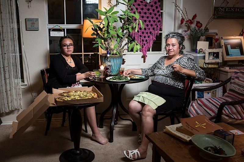 Natalia and Maryann eat dinner in Texas. (LOIS BIELEFELD)