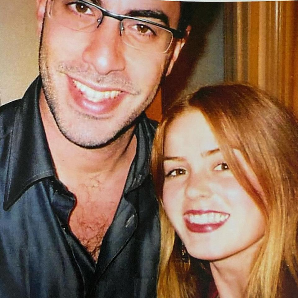 Australian actor Isla Fisher poses for a selfie with her actor husband Sacha Baron Cohen in 2002
