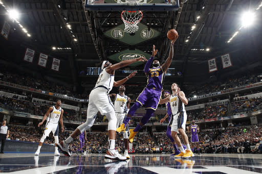 INDIANAPOLIS, IN - FEBRUARY 5: LeBron James #23 of the Los Angeles Lakers shoots the ball against the Indiana Pacers on February 5, 2019 at Bankers Life Fieldhouse in Indianapolis, Indiana. (Photo by Jeff Haynes/NBAE via Getty Images)