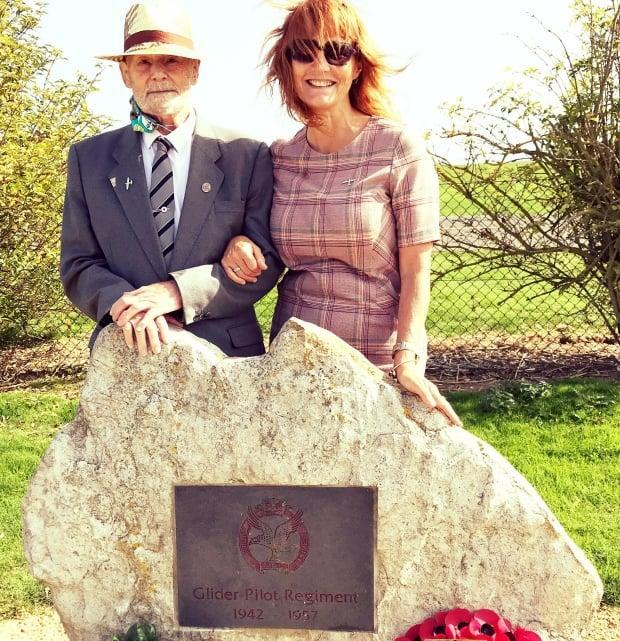 Stephanie Leigh and her father at a memorial honouring Britain's Glider Pilot Regiment, which her grandfather served in during World War II.