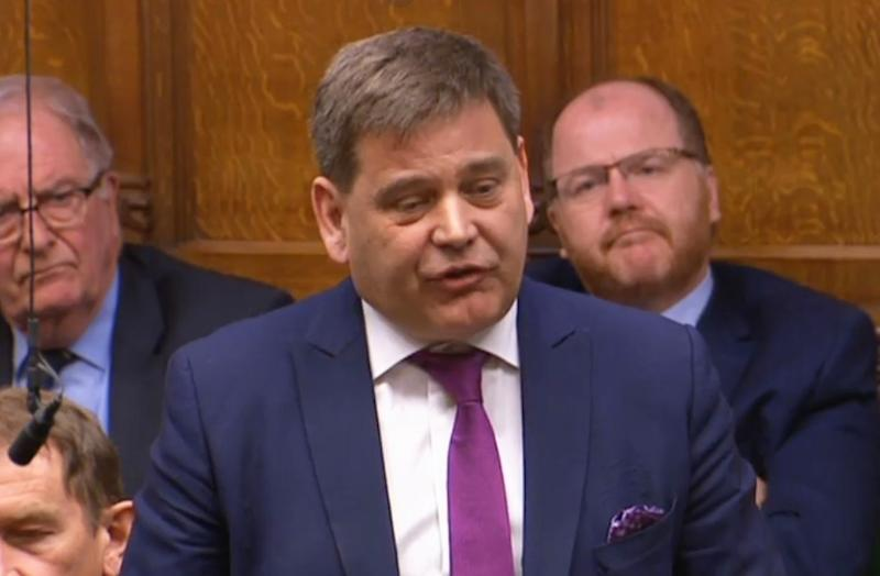 Conservative MP Andrew Bridgen speaks during Prime Minister's Questions in the House of Commons, London.