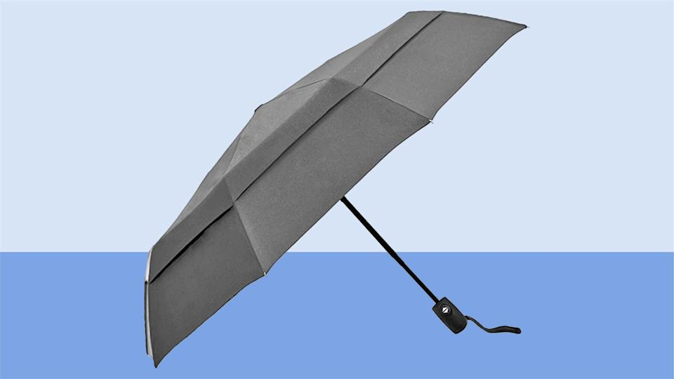 EEZ-Y Compact Travel Umbrella w Windproof Double Canopy Construction