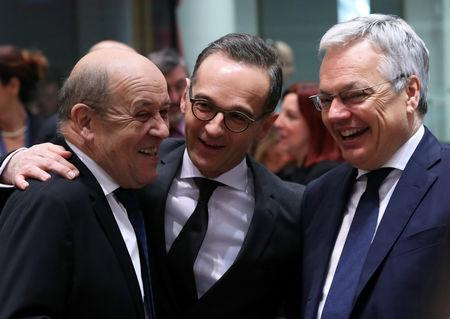 French Foreign Minister Jean-Yves Le Drian, German Foreign Minister Heiko Maas and Belgian Foreign Minister Didier Reynders take part in an EU foreign ministers meeting in Brussels, Belgium March 18, 2019.  REUTERS/Yves Herman