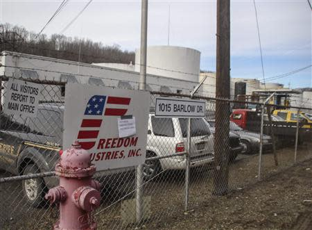 The Freedom Industries chemical plant is shown after a leak at the facility sent chemicals into the Elk River near Charleston