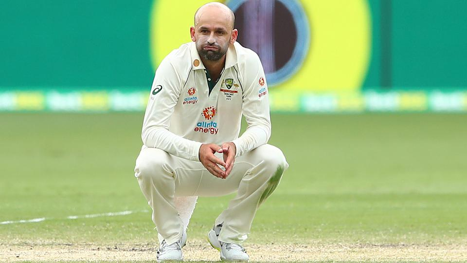 Nathan Lyon reacts during day five of the 4th Test in the series between Australia and India at The Gabba. (Photo by Chris Hyde - CA/Cricket Australia via Getty Images)