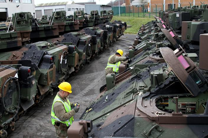 US Army Reserve soldiers check vehicles at Fallingbostel, 30 miles outside of Bergen-Hohne, Germany, for Defender-Europe 20, February 8, 2020.