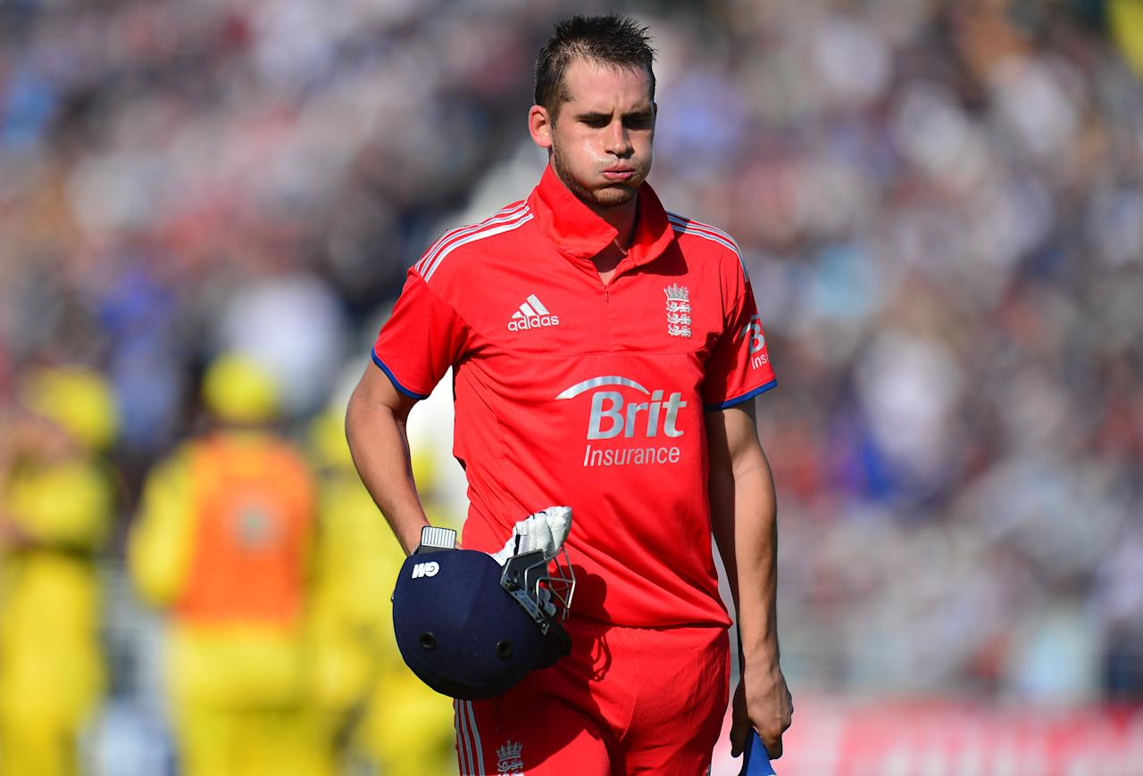 England Alex Hales walks off after being caught for 94 during the second NatWest International T20 at the Emirates Durham ICG, Durham.
