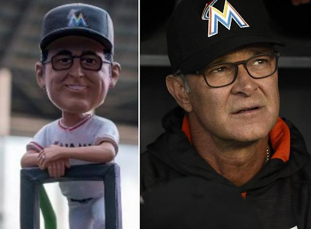 Bobblehead Don Mattingly vs. actual Don Mattingly. (Marlins/AP)