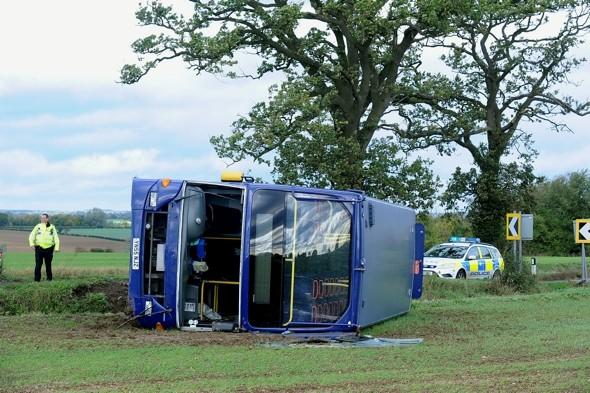 Double decker bus blown over in strong winds injuring two