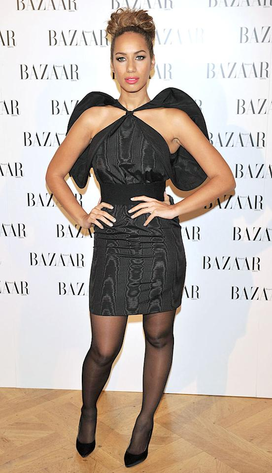 "We'll look past her unsightly updo and her garish pink lipstick, but we just can't forgive Leona Lewis for sporting this Batman-inspired Stella McCartney mess to a <i>Harper's Bazaar</i> banquet in Madrid. Carlos R. Alvarez/<a href=""http://www.wireimage.com"" target=""new"">WireImage.com</a> - February 17, 2010"