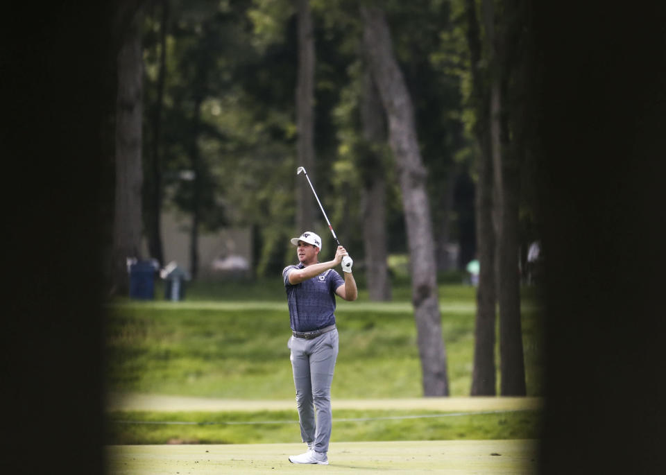 Luke List hits from the fairway on the ninth hole during the second round of the John Deere Classic golf tournament Friday, July 9, 2021, in Silvis, Ill. (Jessica Gallagher/The Dispatch – The Rock Island Argus via AP)