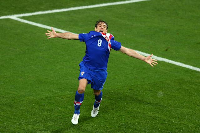 POZNAN, POLAND - JUNE 10: Nikica Jelavic of Croatia celebrates scoring their second goal during the UEFA EURO 2012 group C between Ireland and Croatia at The Municipal Stadium on June 10, 2012 in Poznan, Poland. (Photo by Clive Mason/Getty Images)