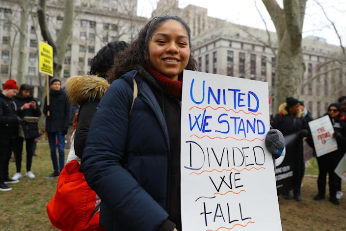 Leslie Camacho attends the Women's Unity Rally on Jan. 19, 2019, at Foley Square. (Photo: Gordon Donovan/Yahoo News)