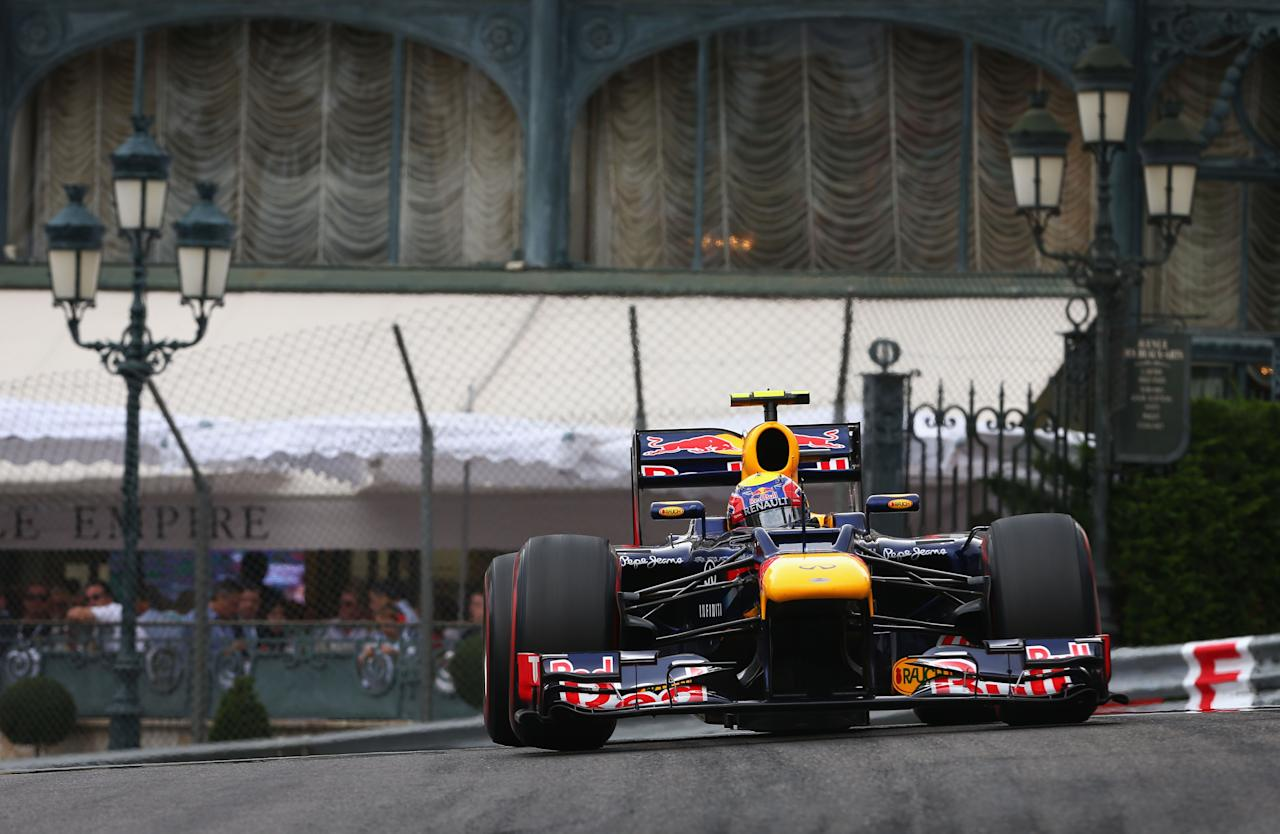 MONTE CARLO, MONACO - MAY 27:  Mark Webber of Australia and Red Bull Racing drives on his way to winning the Monaco Formula One Grand Prix at the Circuit de Monaco on May 27, 2012 in Monte Carlo, Monaco.  (Photo by Clive Mason/Getty Images)