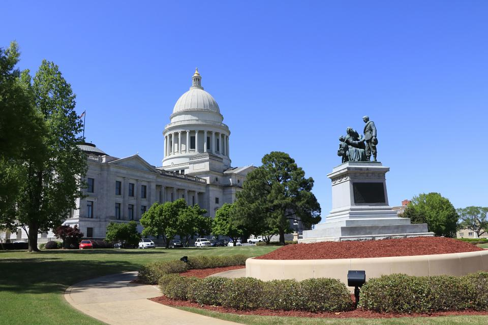 Arkansas State Capitol building and grounds in Little Rock Arkansas. (Photo by: Don & Melinda Crawford/Education Images/Universal Images Group via Getty Images)