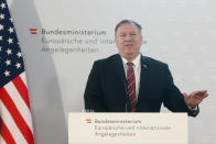 US Secretary of State Mike Pompeo attends a joint news conference with Austrian Foreign Minister Alexander Schallenberg in Vienna, Austria, Friday, Aug. 14, 2020. Pompeo is on a five-day visit to central Europe. Inscriptions reading: 'Federal Ministry For European and International Affairs'. (Photo/Ronald Zak)