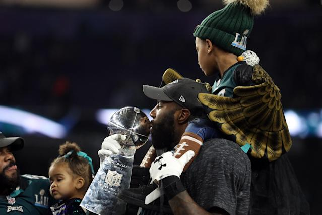 <p>Malcolm Jenkins #27 of the Philadelphia Eagles kisses the Vince Lombardi Trophy after defeating the New England Patriots 41-33 in Super Bowl LII at U.S. Bank Stadium on February 4, 2018 in Minneapolis, Minnesota. (Photo by Patrick Smith/Getty Images) </p>