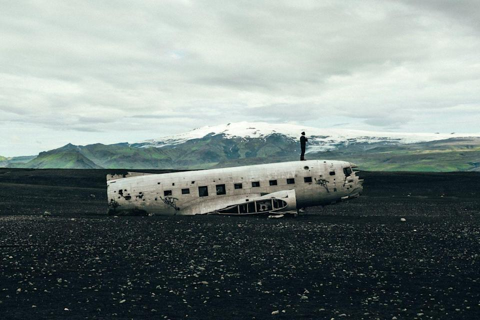 <p>The shell of a sky bird rests in a field outside of the Icelandic mountains. </p>