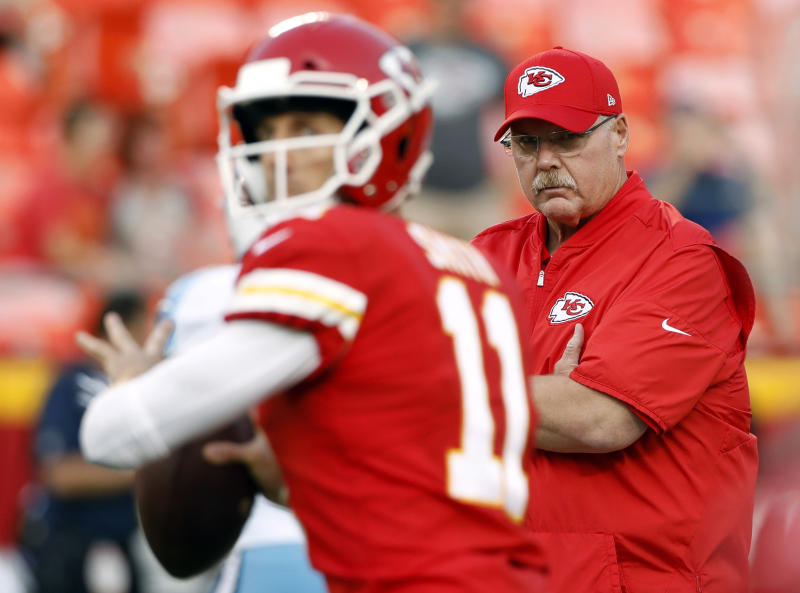 Andy Reid and the Chiefs have moved on from Alex Smith at quarterback and hope to make their offense more dynamic with Patrick Mahomes. (AP)