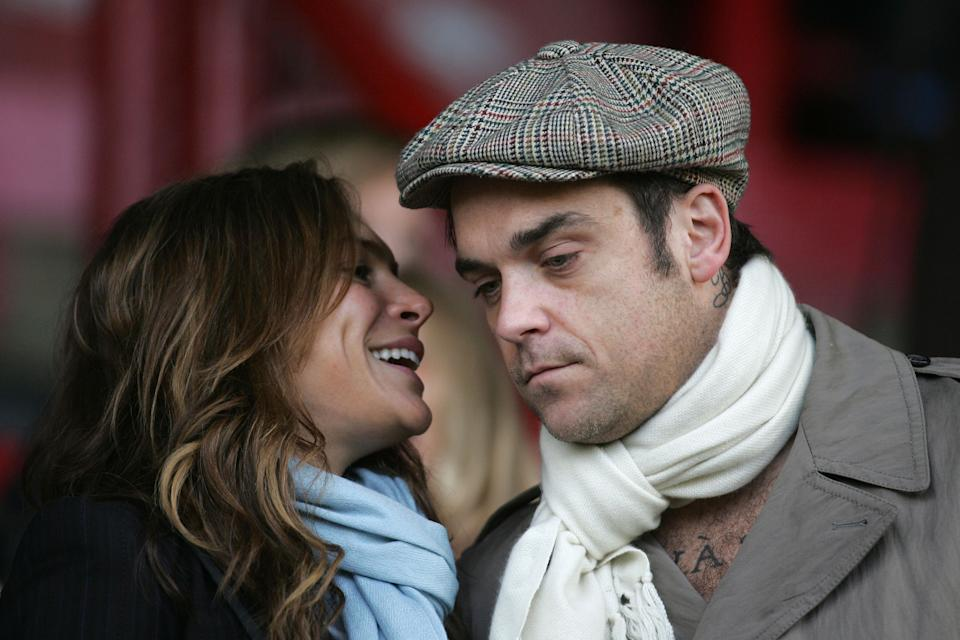 Singer Robbie Williams watching the match with girlfriend, actress Ayda Field - (photo by Mark Leech/Offside/Getty Images)