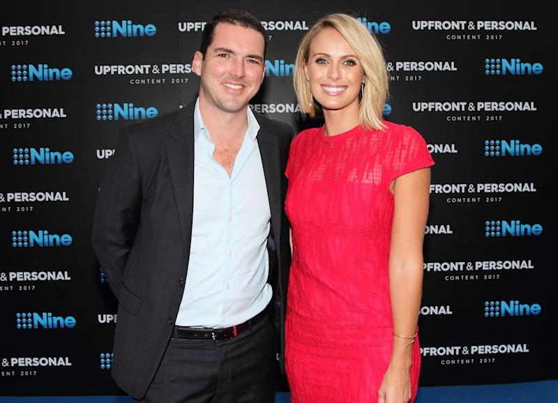 Peter Stefanovic and Sylvia Jeffreys pose during the Channel Nine Up fronts at The Star