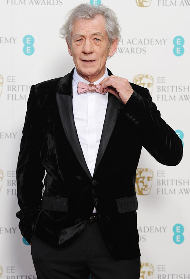LONDON, ENGLAND - FEBRUARY 10:  Sir Ian McKellen poses in the press room at The EE British Academy Film Awards 2013 at The Royal Opera House on February 10, 2013 in London, England.  (Photo by Dave J Hogan/Getty Images)