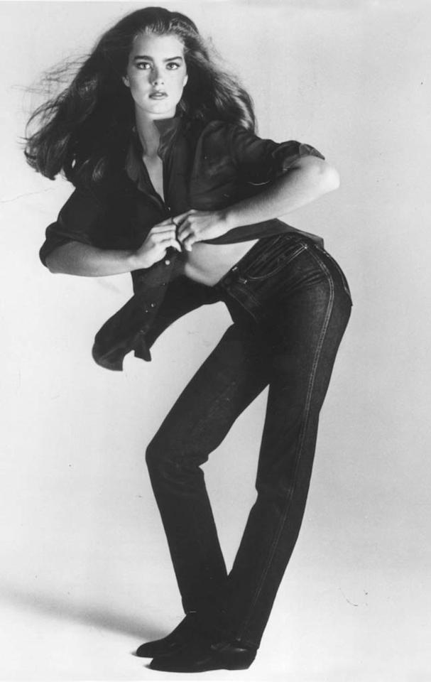 """<b>Brooke Shields, 1980:</b> """"You want to know what comes between me and my Calvins? Nothing."""" When 15-year-old Brooke Shields delivered that infamous line, the world gasped ... and bought Calvin Klein jeans. Either because of her age or the skin-baring commercials (one of which had her shimmying into a pair of skinnies) the outcry was continuous, but the designer's response was unapologetic: """"Jeans are sex.""""   <b><a href=""""http://www.instyle.com/instyle/package/general/photos/0,,20396039_20436052_20866423,00.html?xid=omg-sexy-jeans?yahoo=yes"""" target=""""new"""">InStyle's Sexiest Jeans Ever</a></b> Globe Photos - 1980"""