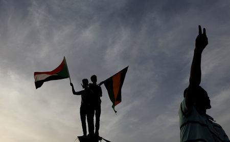 Sudanese demonstrators protest outside the Defence Ministry in Khartoum