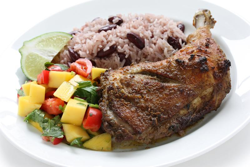 jerk chicken plate, jamaican food isolated on white background