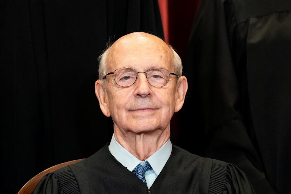 Associate Justice Stephen Breyer poses during a group photo of the Justices at the Supreme Court in Washington, U.S., April 23, 2021. Erin Schaff/Pool via REUTERS