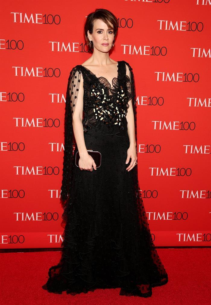 <p>The <em>American Horror Story</em> star opted for a gothic gown by Rodarte. (Photo: Reuters) </p>