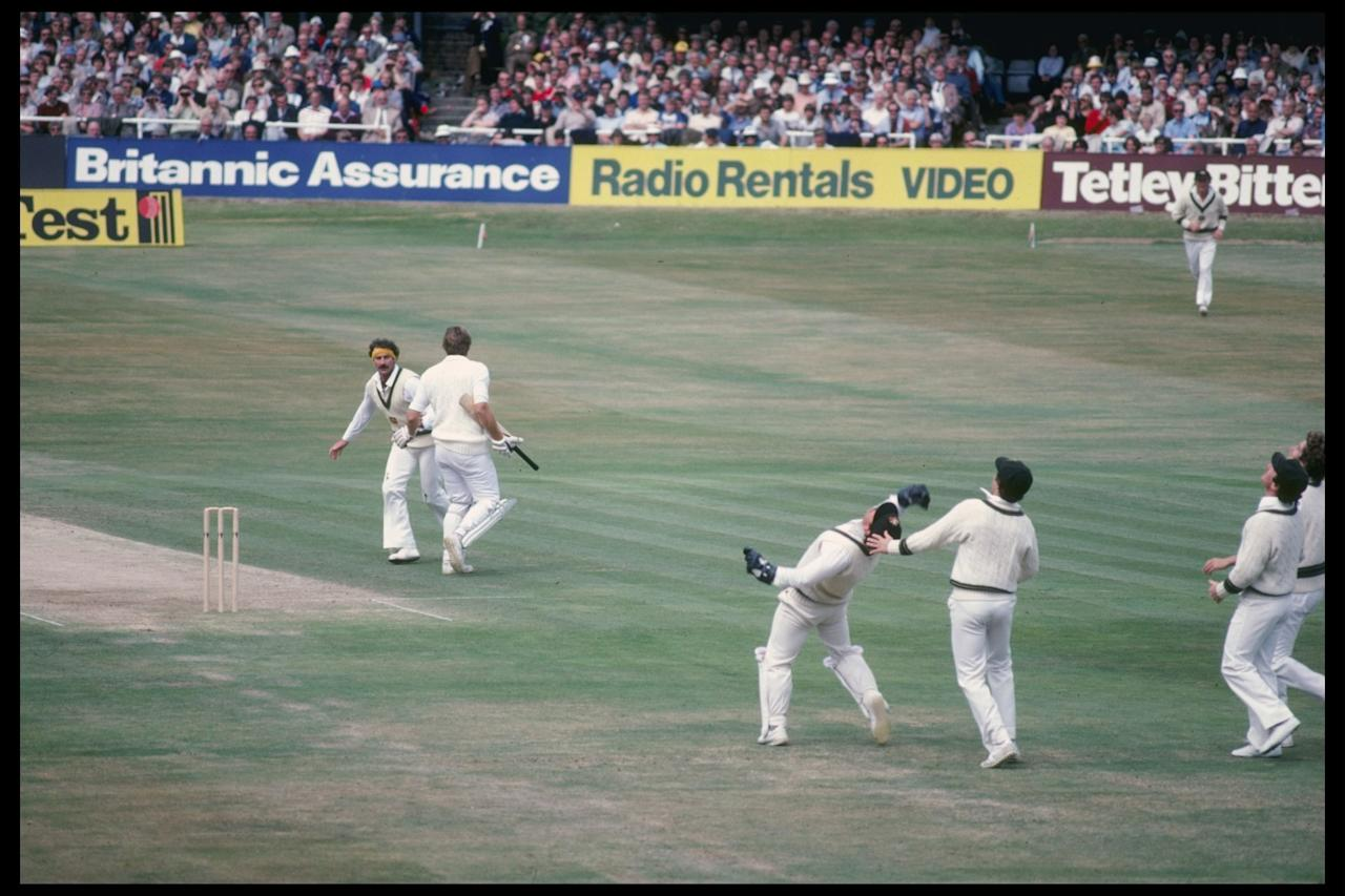 Undated:  Rodney Marsh of Australia breaks the world record for test catches to dismiss Ian Botham from England of Dennis Lillee during the thirs test at Headingley. Mandatory Credit: Adrian Murrell/Allsport