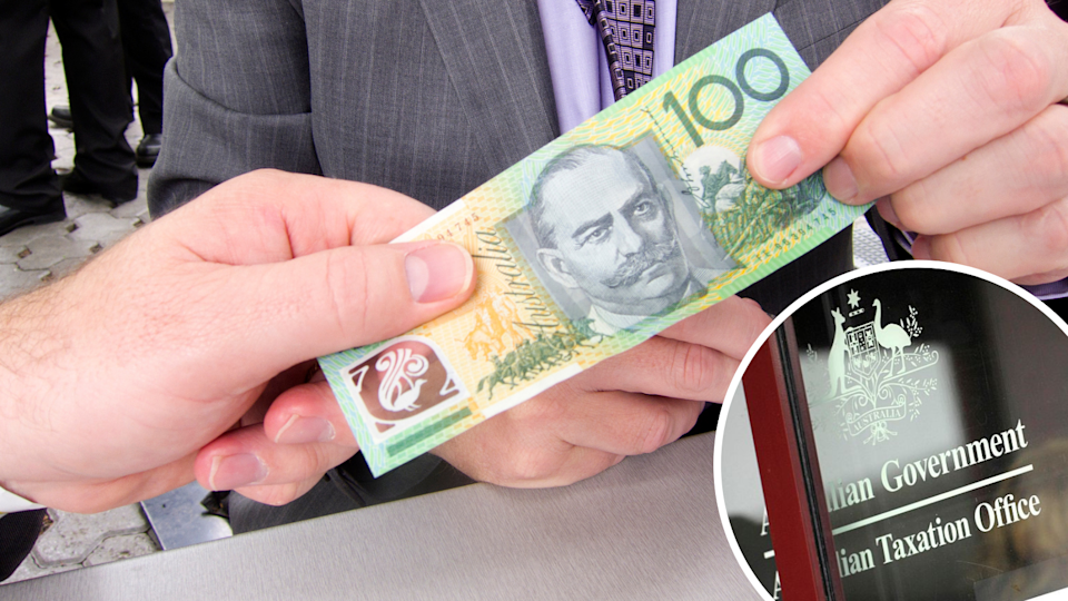 People pass a $100 note between them, inset of the Australian Taxation Office