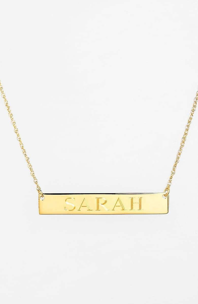 <p>You can write up to 12 characters on this pretty <span>Jane Basch Designs Personalized Bar Pendant Necklace</span> ($98)</p>