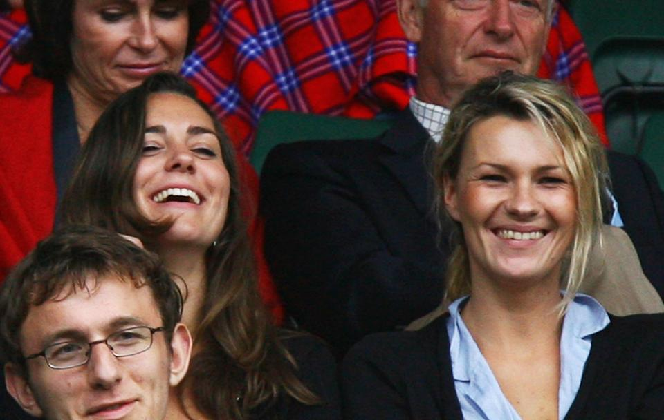 Kate Middleton, who was then Prince William's girlfriend, is spotted in the crowd of the 2007 men's singles third round. The avid tennis fan enjoyed the match with a friend. <em>[Photo: Getty Images]</em>