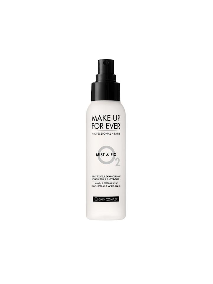 """<p>Celebrity makeup artist <a rel=""""nofollow"""" href=""""https://www.instagram.com/billieegene/"""">Eugene Williams</a> (clients include Keke Palmer and Chrissy Metz) says that for dry skin types, this alcohol-free formula is his go-to. Not only does it seal your makeup for up to 12 hours, it increases hydration up to 40 percent, using a molecule called polyol. <strong>Pro tip:</strong> If skin is super dry, Williams recommends spritzing this onto a <a rel=""""nofollow"""" href=""""http://www.beautyblender.com/"""">Beautyblender</a> then dab on dry patches for a flawless makeup finish. $12, <a rel=""""nofollow"""" href=""""http://www.sephora.com/mist-fix-setting-spray-P386660"""">Sephora</a> </p>"""