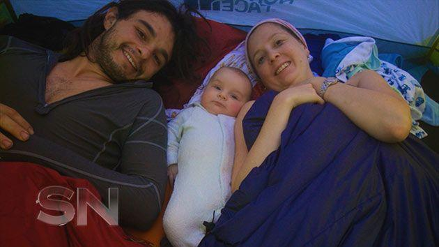 James and Mia camping with four-month-old Jack